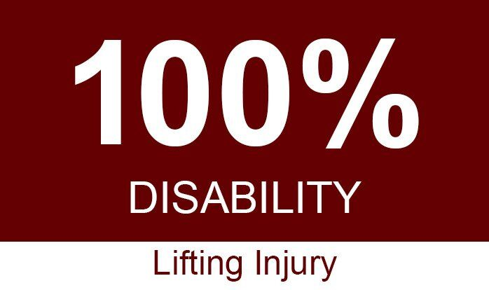 sac workers comp one hundred percent disability lifting injury